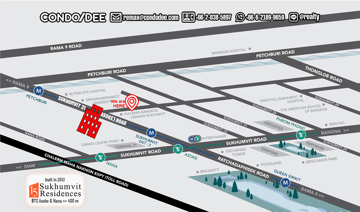 15 Sukhumvit Residences Condominium Near BTS Asoke and BTS Nana