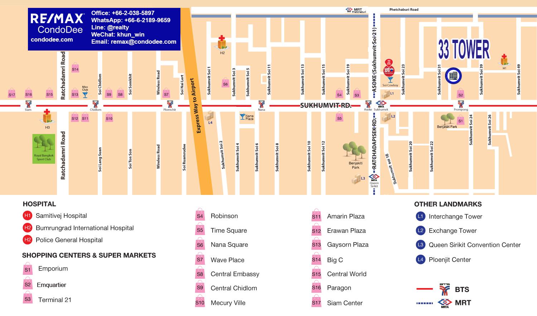 33 Tower Bangkok Condominium in Sukhumvit 33 Near BTS Phrom Phong