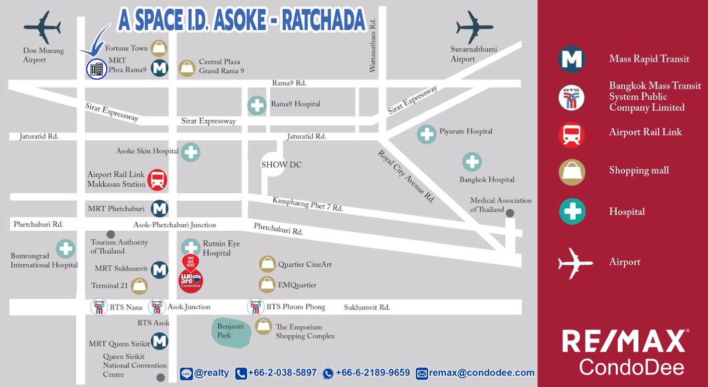 A Space ID Asoke-Ratchada Condo Near MRT Rama 9