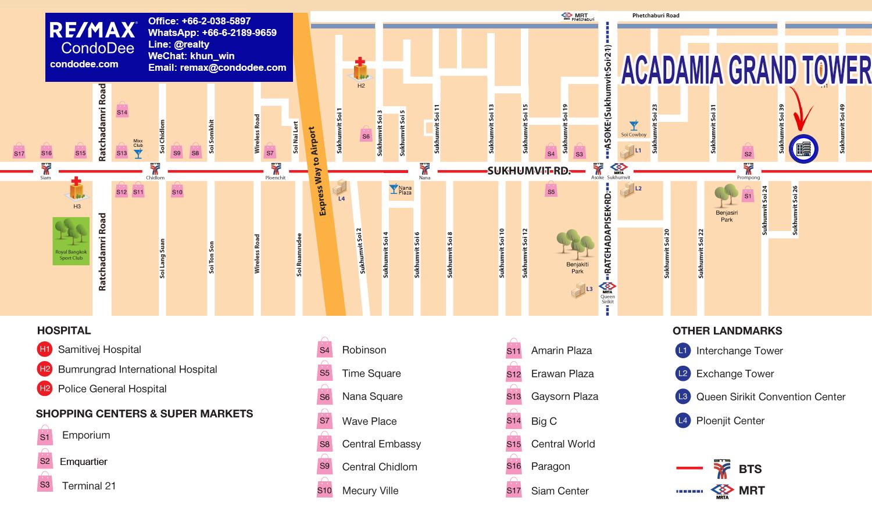 Acadamia Grand Tower Condominium at Sukhumvit 43 Near BTS Phrom Phong
