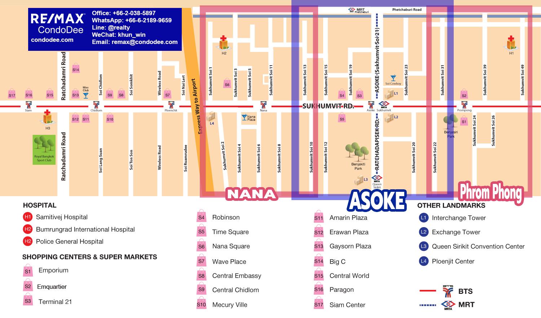 Asoke-Nana-Phrom Phong map by REMAX CondoDee