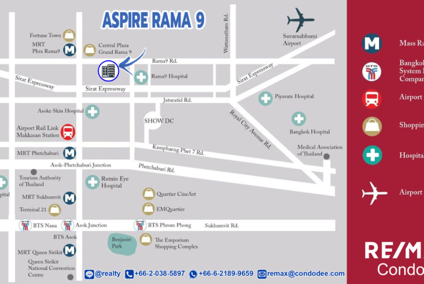 Aspire Rama 9 condo - map