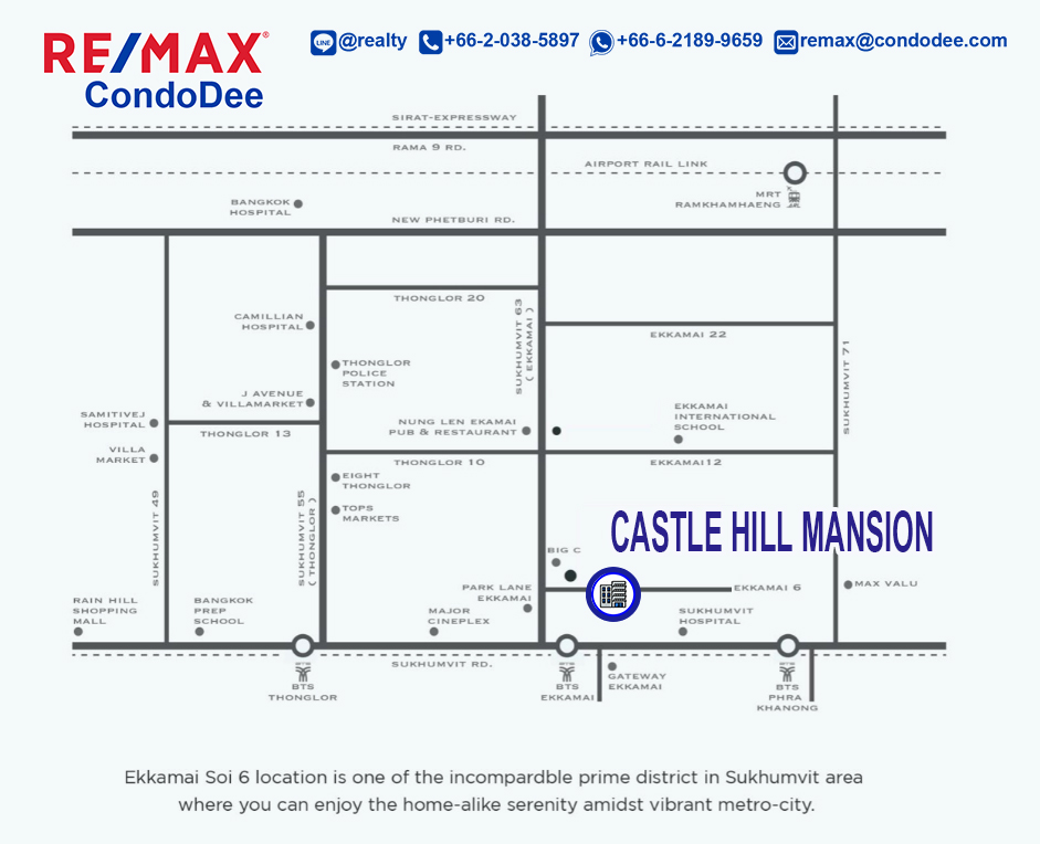 Castle Hill Mansion older Bangkok condominium in Ekkamai with large apartments