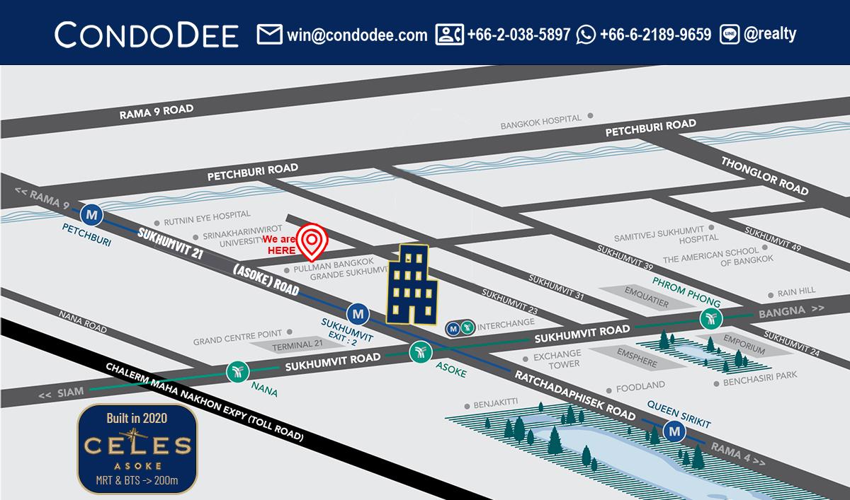 Celes Asoke Condominium Near Near Sukhumvit MRT and Asoke BTS