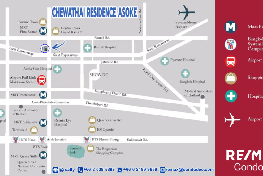 Chewathai Residence Asoke condo - map