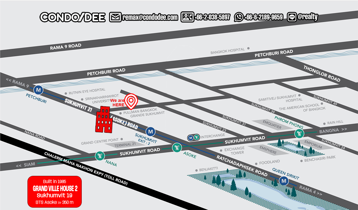 Grand Ville House 2 Condominium in Sukhumvit 19 near Asoke BTS