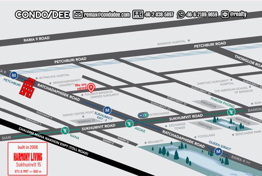 Harmony Living Sukhumvit 15 condo - map