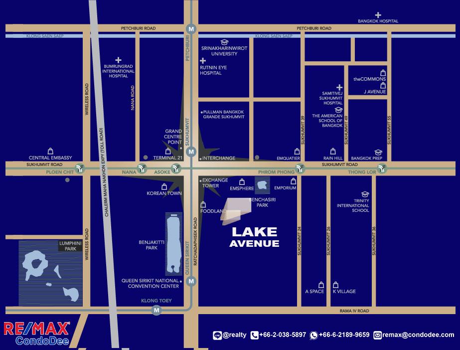 Lake Avenue Condominium Near Asoke BTS and Sukhumvit MRT