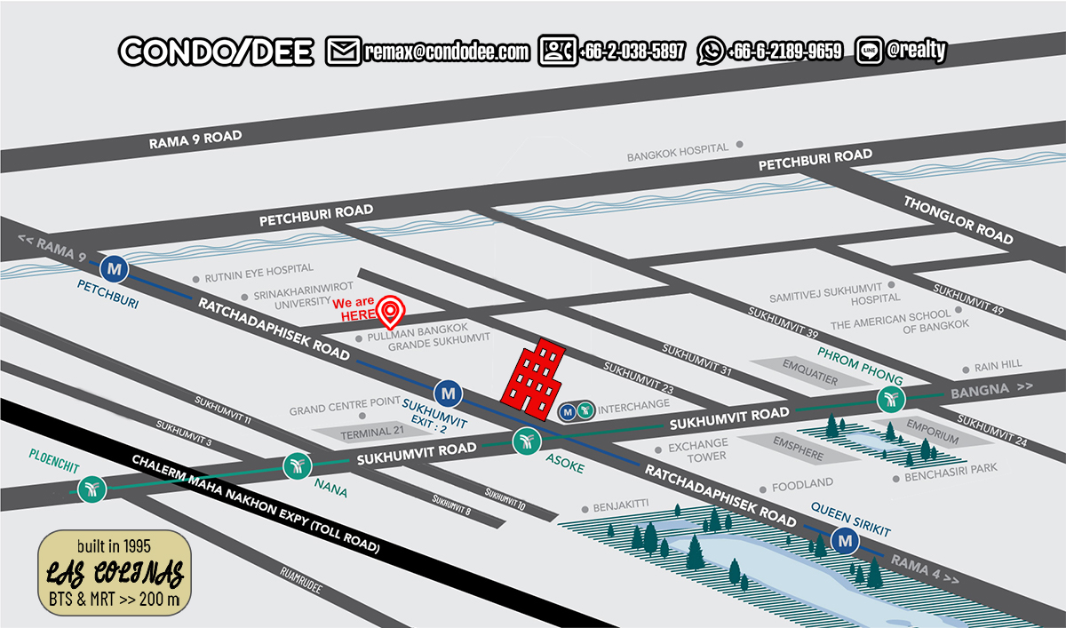 Las Colinas Condominium Near Asoke BTS and Near Sukhumvit MRT
