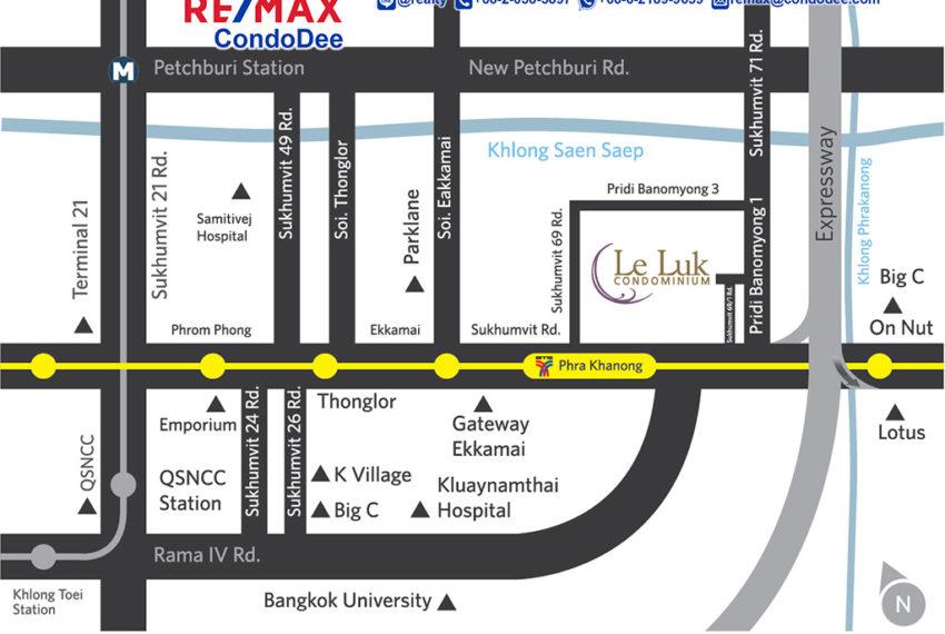 Le Luk Condominium near Phra Khanong BTS - map
