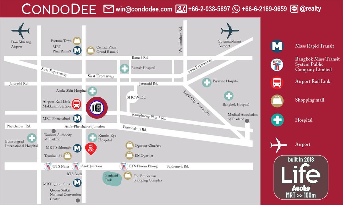 Life Asoke Condominium Near Phetchaburi MRT and Makkasan Airport Rail Link