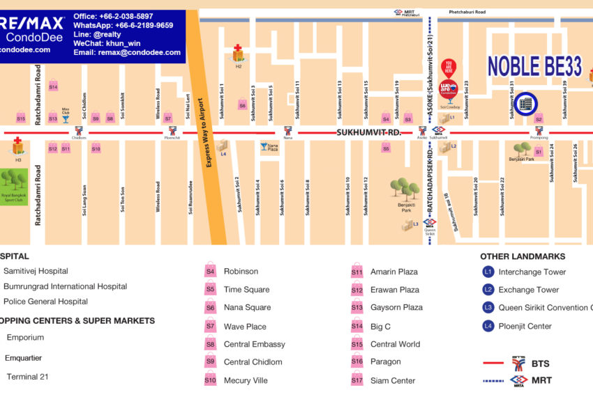 Noble Be33 condo - map