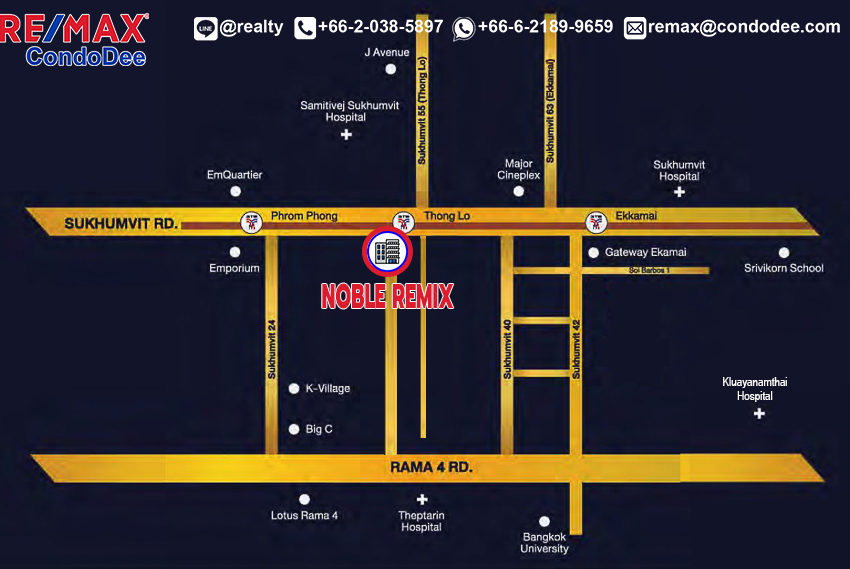 Noble Remix condo - map