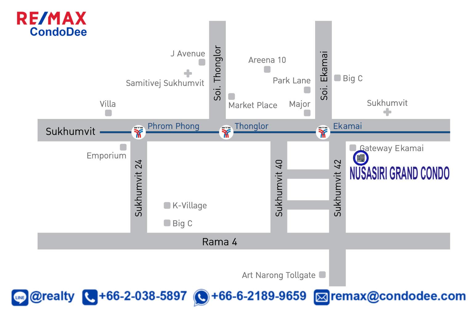 Nusasiri Grand Condo Sukhumvit 42 Condominium Near BTS Ekkamai