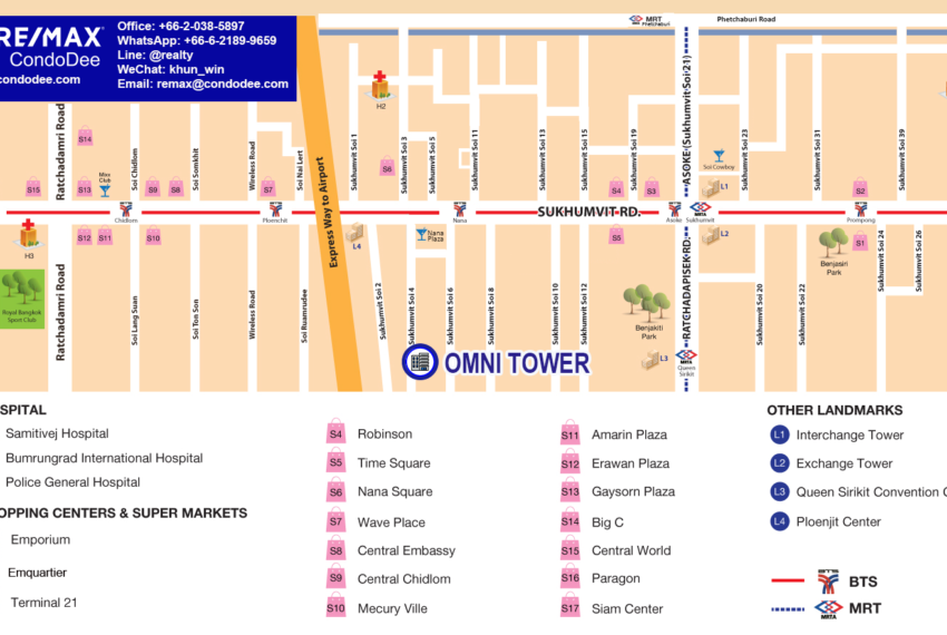 Omni Tower Sukhumvit Nana condo - map