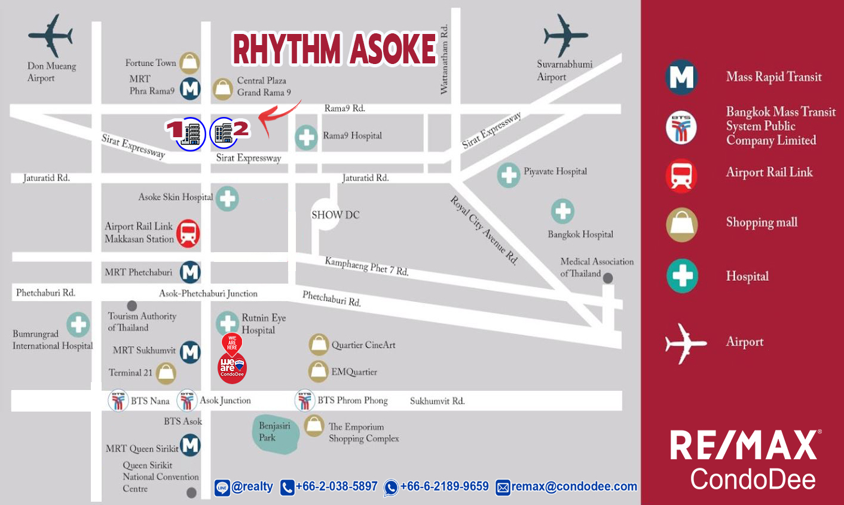 Rhythm Asoke Condo Near Rama 9 MRT, Phetchaburi MRT and Airport Rail Link