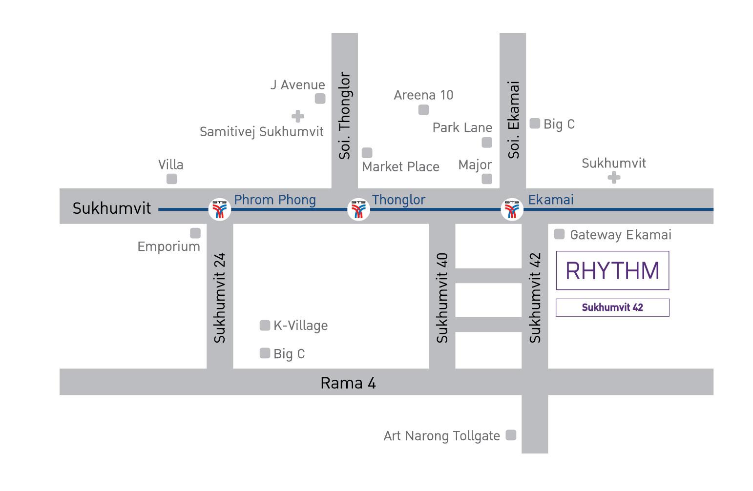 Rhythm Sukhumvit 42 Condo near BTS Condo in Ekkamai Buy condo in Ekkamai Rent condo in Ekkamai 1-bedroom condo 2-bedroom condo