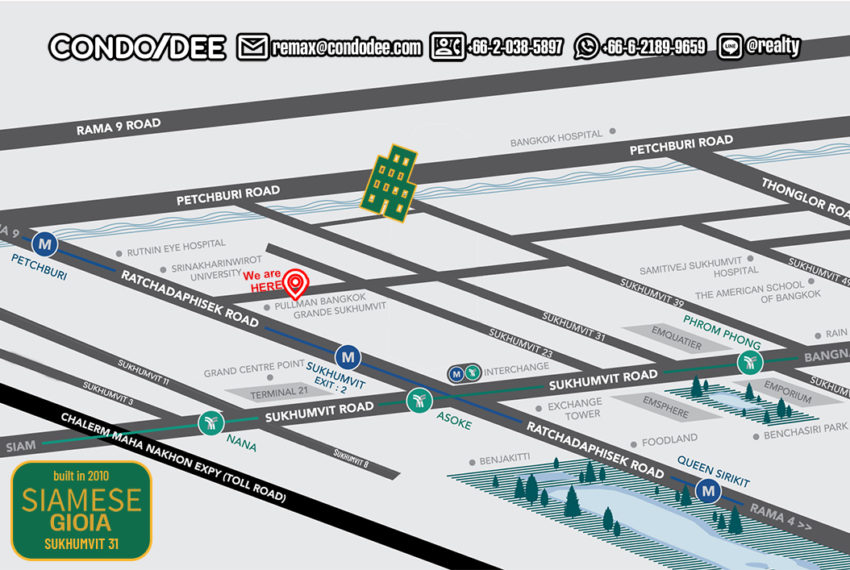 Siamaese Gioia Sukhumvit 31 condo - map