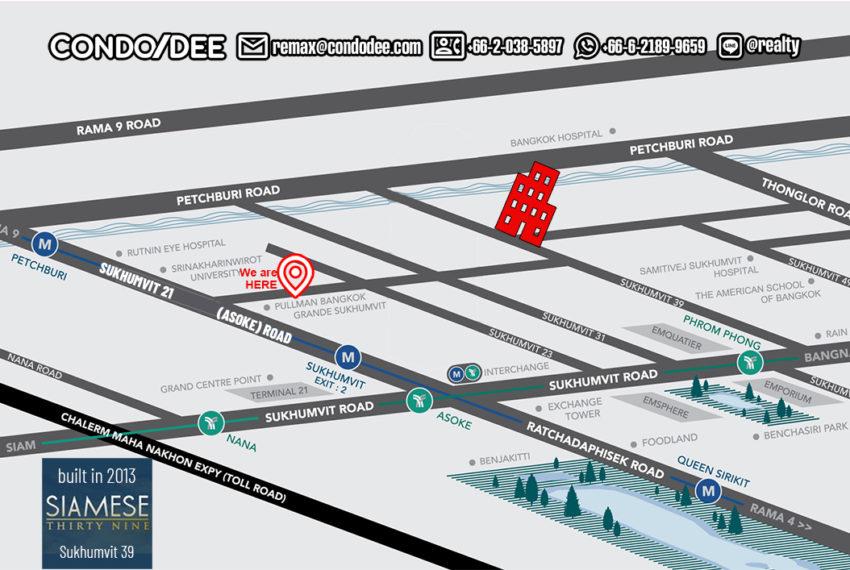 Siamese Thirty Nine condo - map