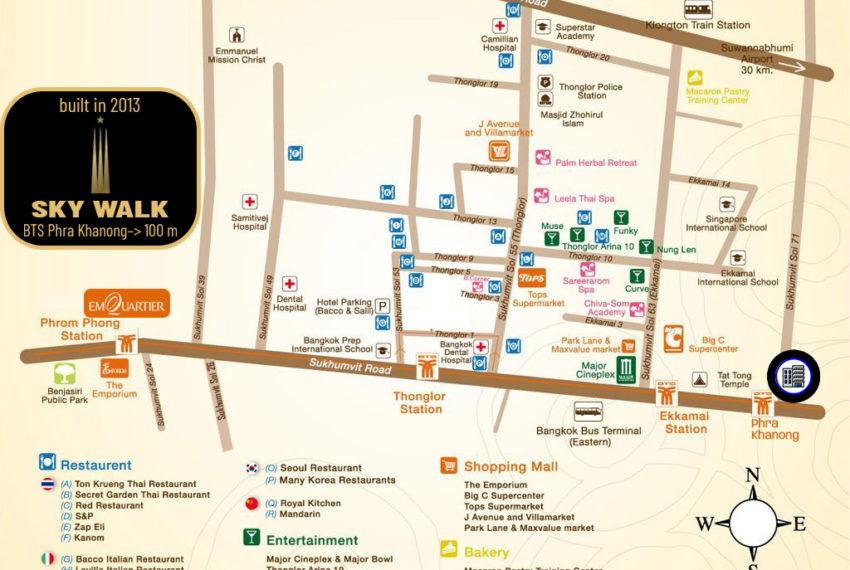 Sky Walk Condominium near Phra Khanong BTS - map
