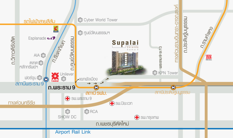 Supalai Veranda Rama 9 - map Thai