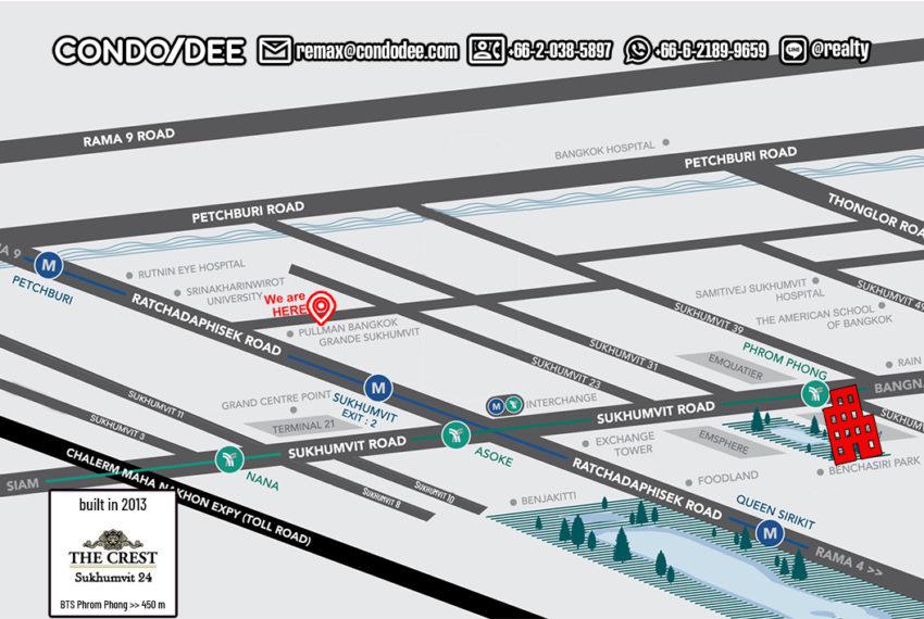 The Crest Sukhumvit 24 condominium - map