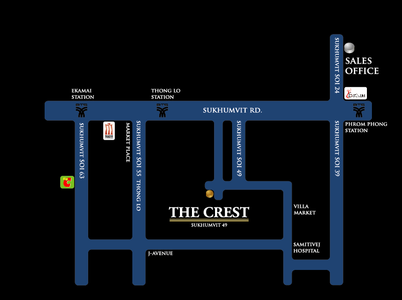 The Crest Sukhumvit 49 Condominium Near BTS Thong Lo