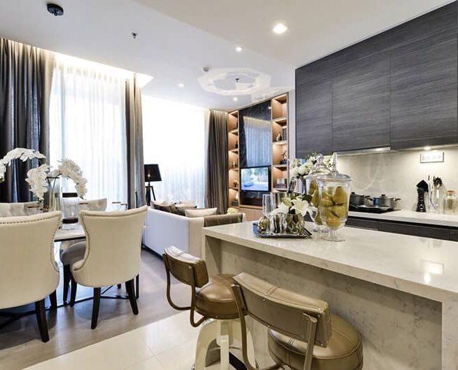 Corner apartment for sale in Asoke - top floor (40+) - 2 bedroom - The Esse Asoke condo