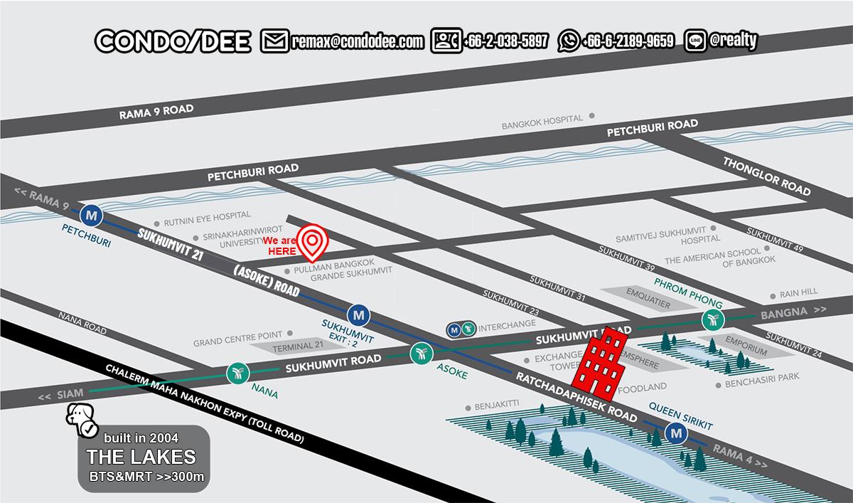 The Lakes Condo Near BTS Asoke and Terminal 21 - Pet-Friendly