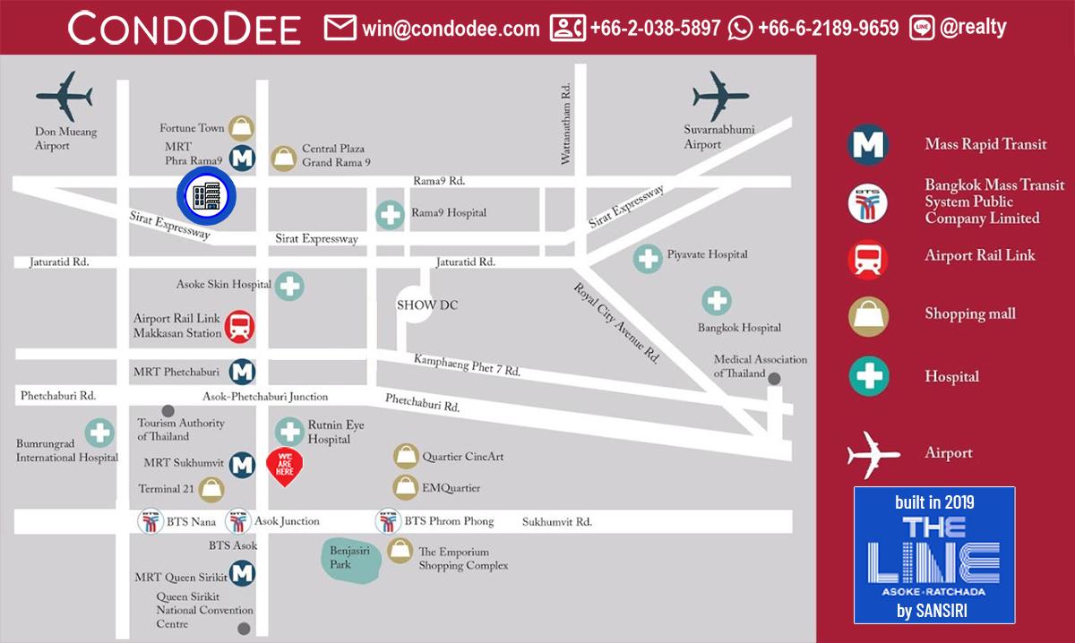 The Line Asoke Ratchada Condo Near MRT Rama 9