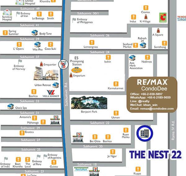 The Nest Sukhumvit 22 condominium - map