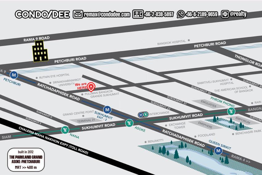 The Parkland Grand Asoke-Phetchaburi - map