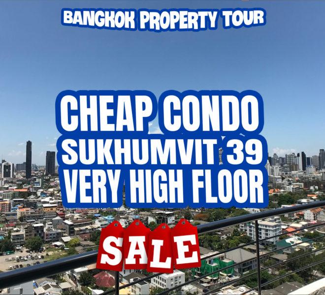 Cheap Bangkok condo on high floor for sale - 2-bedroom - 2 balconies - amazing view - Supalai Place Sukhumvit 39
