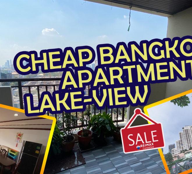 Cheap 2-bedroom Bangkok apartment for sale - large balcony - mid-floor - Monterey Place near MRT
