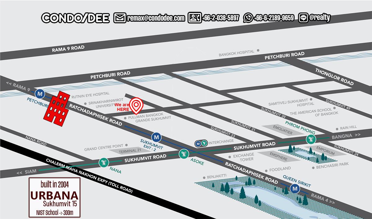 Urbana Sukhumvit 15 Condominium in Asoke Near NIST School and Channel