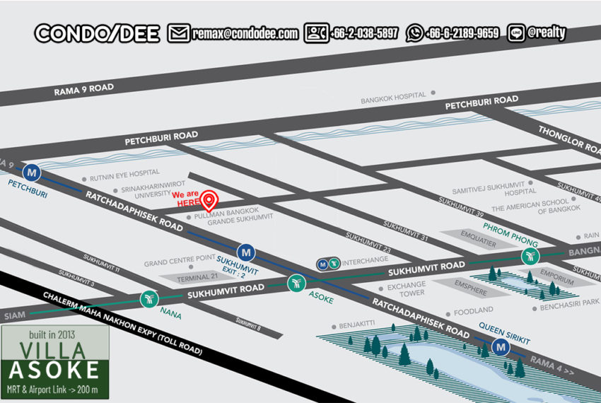 Villa Asoke condominium - map
