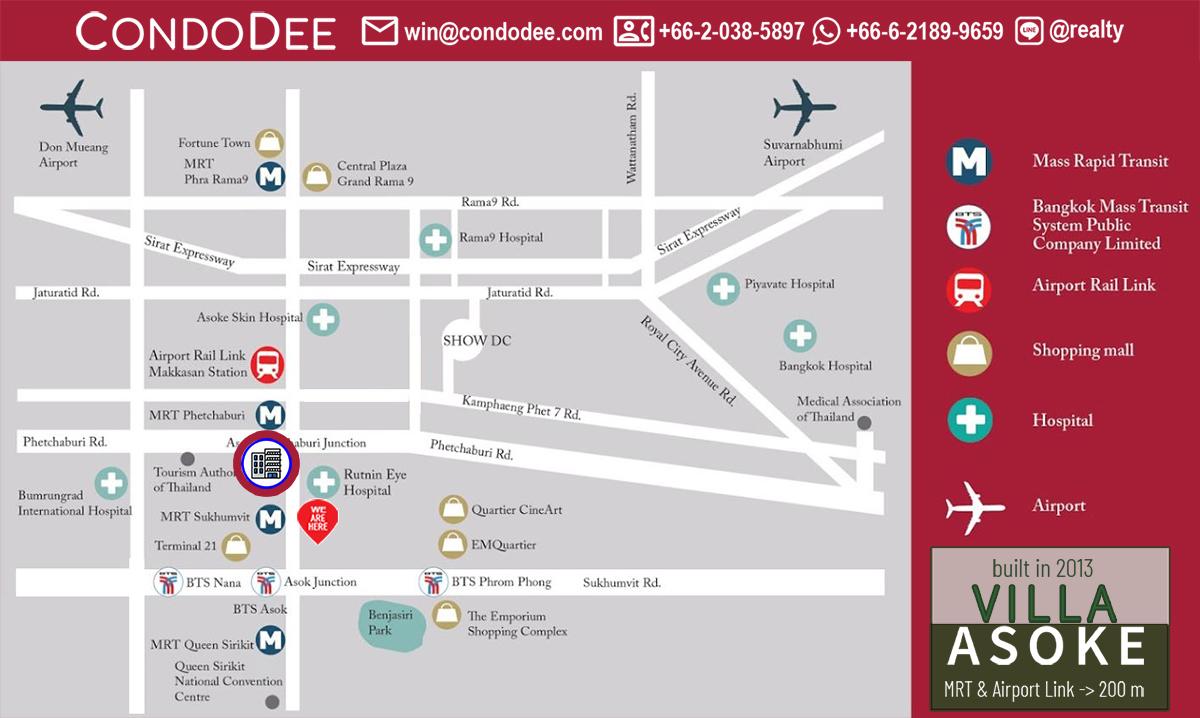Villa Asoke Condominium Near MRT Phetchaburi and Airport Rail Link Makkasan