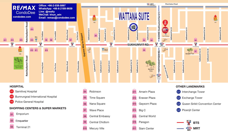 Wattana Suite Condominium in Asoke on Sukhumvit 15 Near BTS and NIST School
