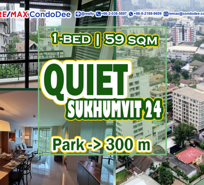 Quiet condo near the park in Sukhumvit 24 for sale - 1-bedroom - Pearl Residences