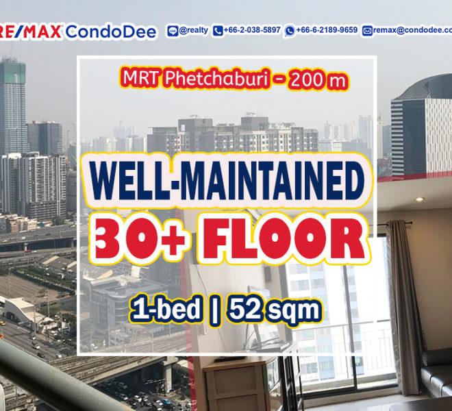 Well-maintained condo near MRT Phetchaburi for sale - high floor - Villa Asoke
