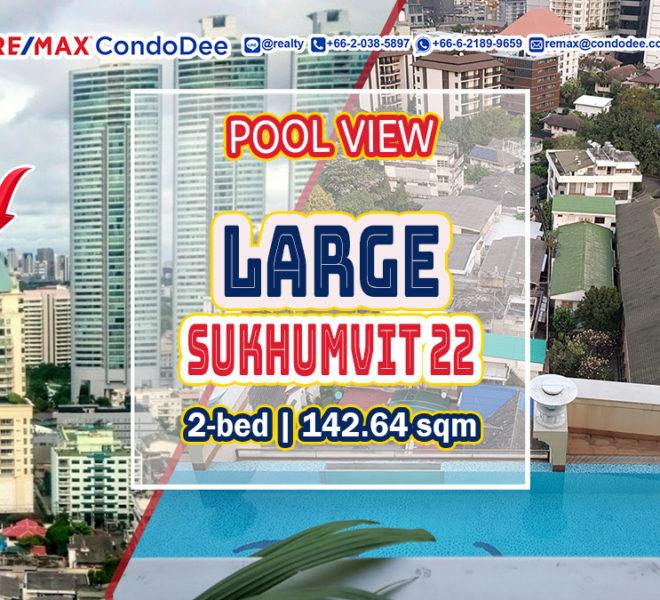 Large Bangkok condo in Sukhumvit 22 for sale - pool view - 2-bedroom - Wilshire
