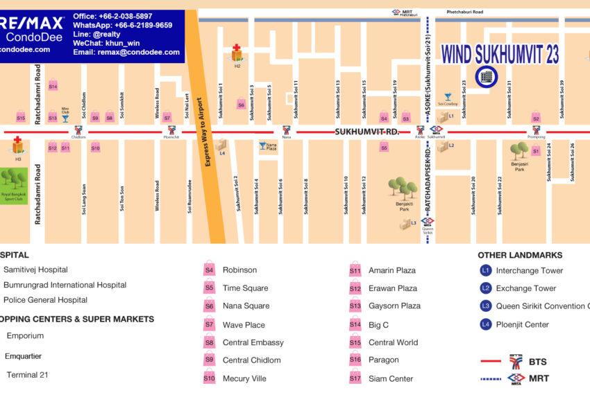 Wind Sukhumvit 23 condo - map