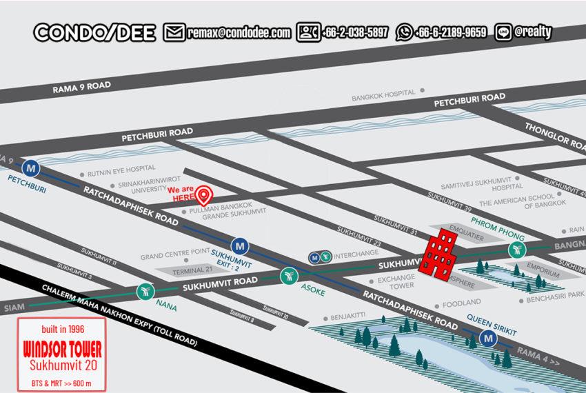 Windsor Tower Sukhumvit 20 - map