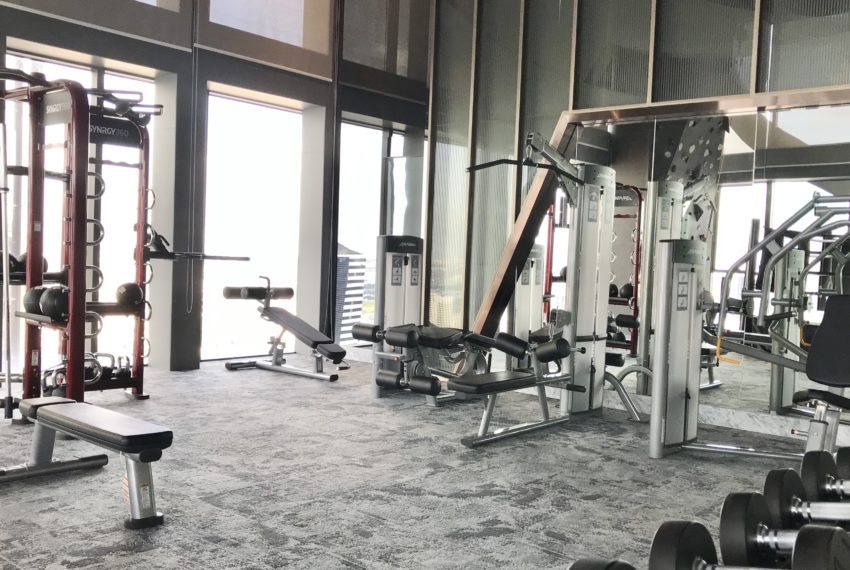fitness in rock climbing wall and boxing ring room