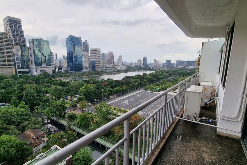 large balcony - park view