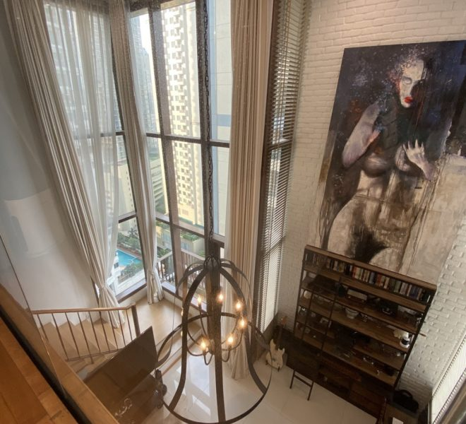 Duplex condo in Sukhumvit 24 for sale - custom artistic decoration - mid-floor - The Emporio Place